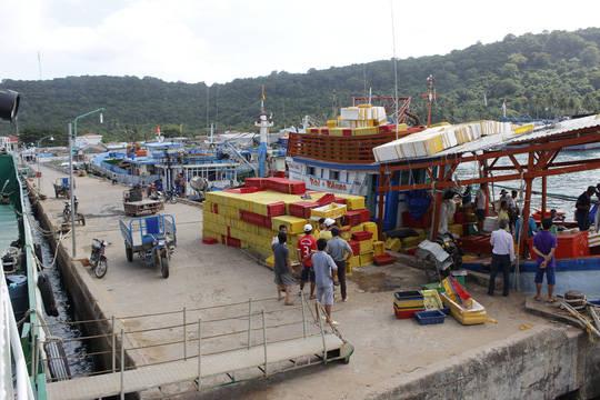 Buổi sáng trên cảng cá Thổ Chu Phú Quốc là nơi tấp nập thuyền bè qua lại